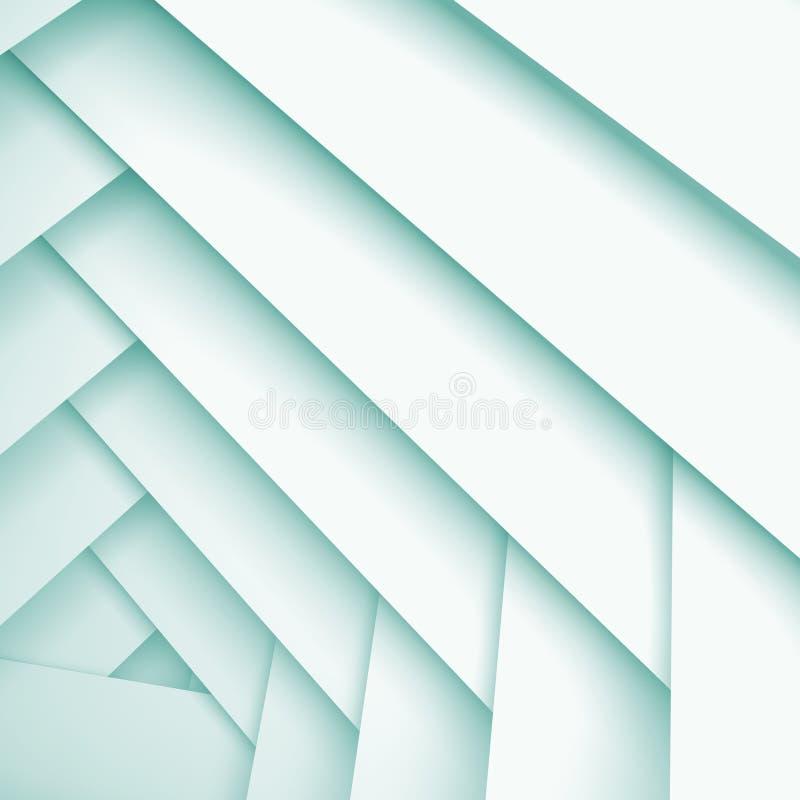 Fondo astratto del quadrato 3d con gli strati bianchi illustrazione vettoriale