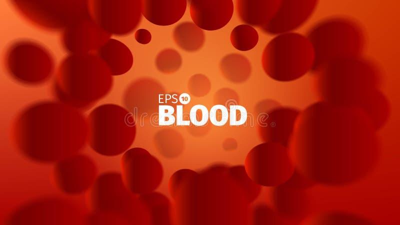 Fondo astratto del sangue di vettore Illustrazione di scienza Vista del microscopio Corrente delle cellule illustrazione di stock