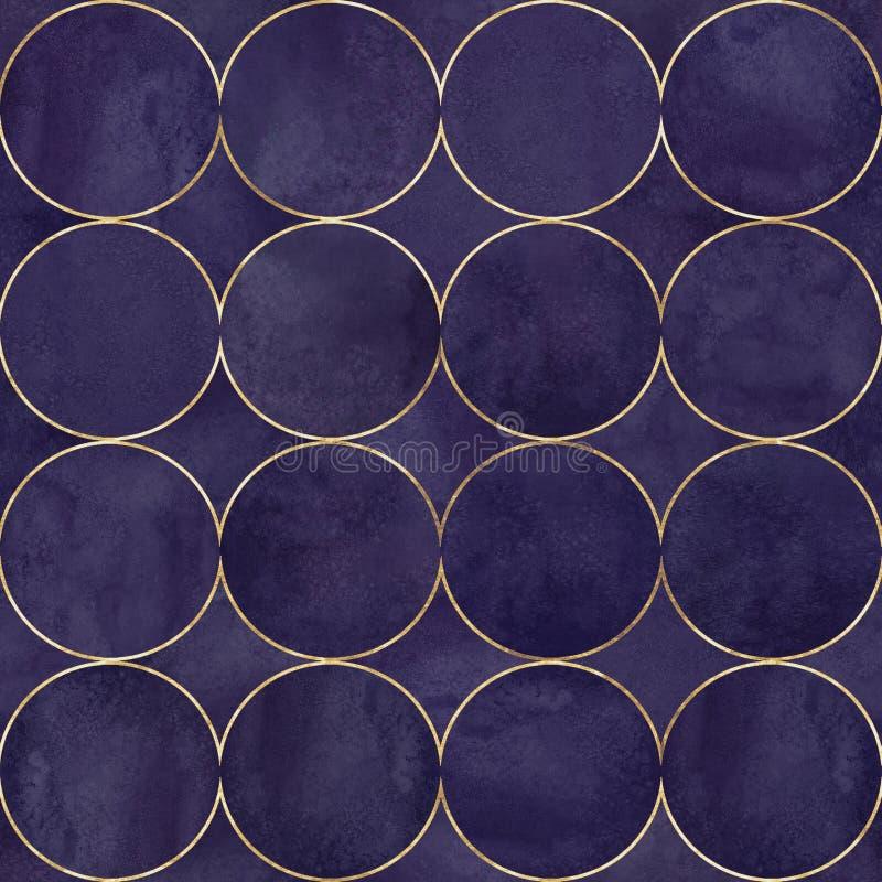Fondo astratto dell'acquerello con i cerchi di colore porpora scuri Modello senza cuciture disegnato a mano dell'acquerello illustrazione di stock