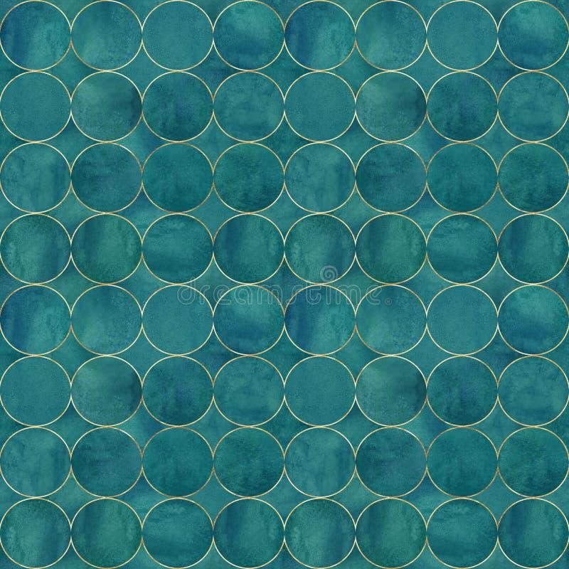 Fondo astratto dell'acquerello con i cerchi di colore scuri dell'alzavola illustrazione di stock