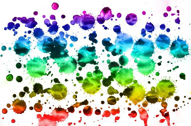 Fondo astratto dell'acquerello delle macchie colorate multi dell'inchiostro di tutti i colori spettrali Immagine di sfondo fatta  fotografia stock libera da diritti