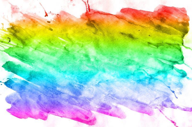 Fondo astratto dell'acquerello delle macchie colorate multi dell'inchiostro di tutti i colori spettrali Immagine di sfondo fatta  fotografie stock