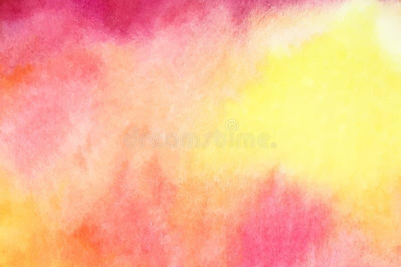 Fondo astratto dell'acquerello nei colori gialli, rossi, rosa ed arancio illustrazione di stock