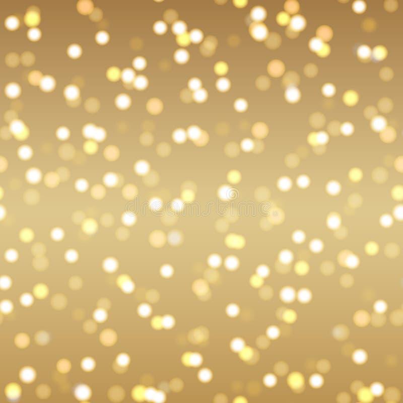 Fondo astratto dell'oro con i punti e le stelle dell'oro Vettore illustrazione vettoriale