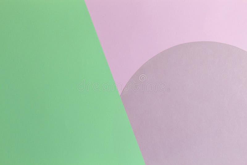 Fondo astratto della carta di colore Colore rosa e verde chiaro pastello intorno alla composizione nella geometria di forma del c immagini stock libere da diritti