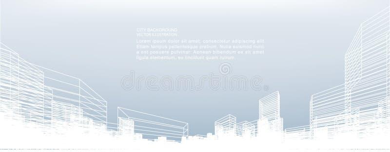 Fondo astratto della città del wireframe La prospettiva 3D rende del wireframe della costruzione illustrazione vettoriale