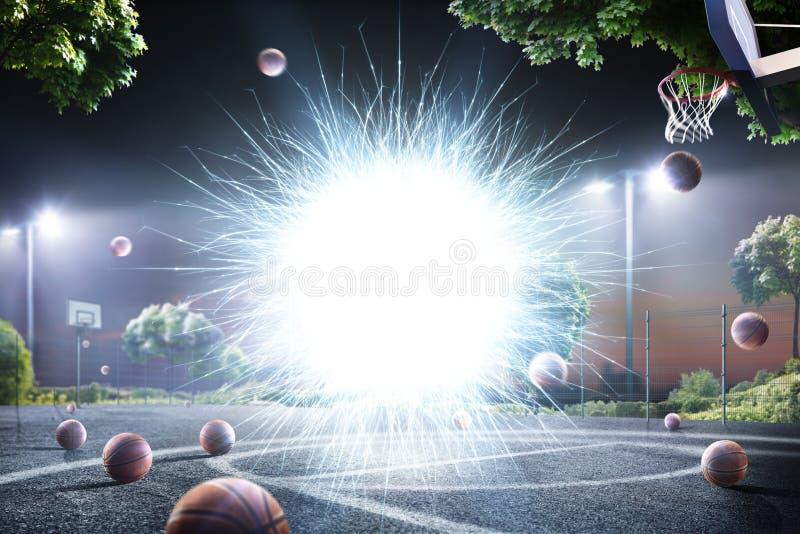 Fondo astratto della corte dello streetball alle luci illustrazione di stock