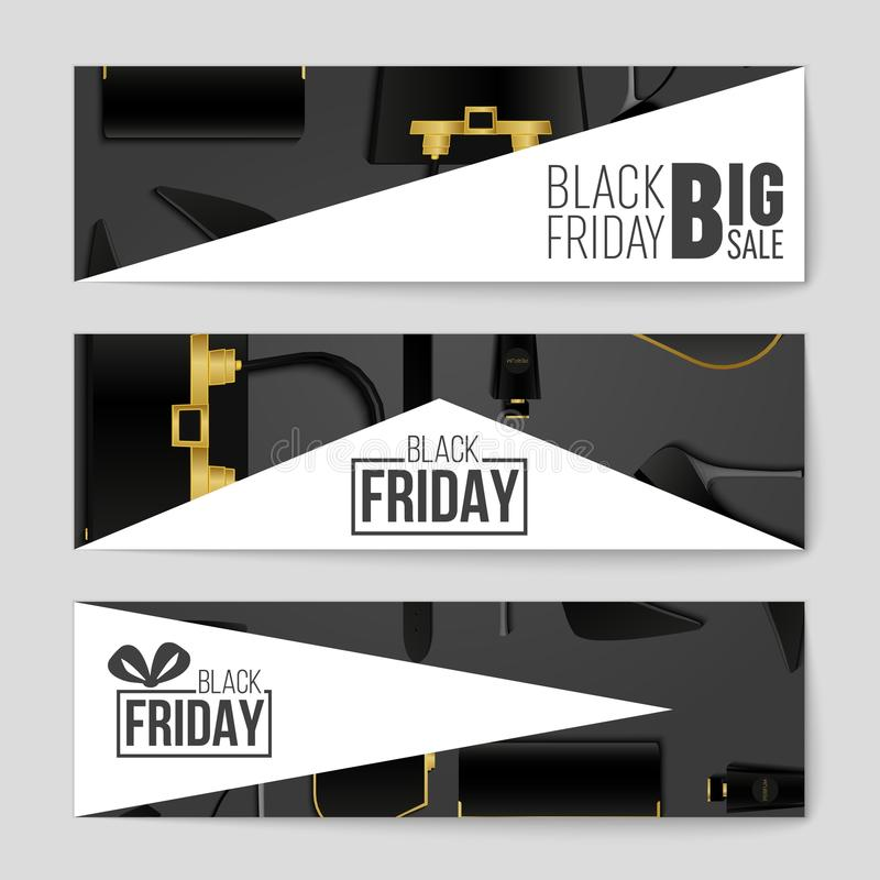 Fondo astratto della disposizione di Black Friday di vettore Per progettazione creativa di arte, lista, pagina, stile di tema del illustrazione di stock