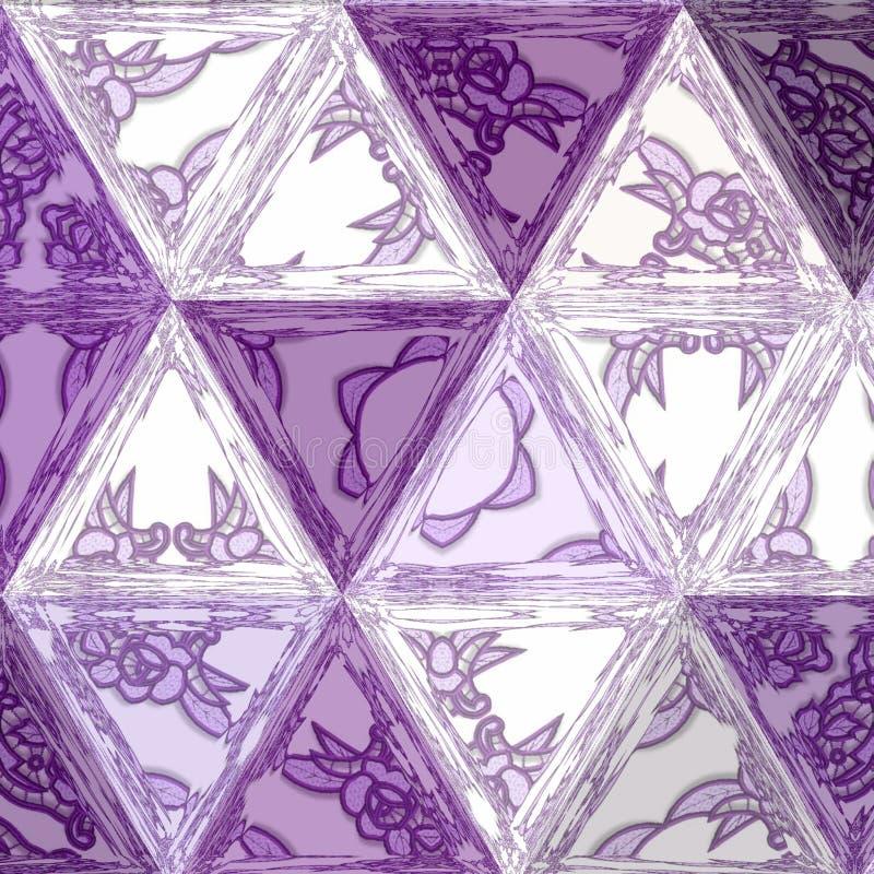 Fondo astratto della geometria dei triangoli nell'ultravioletto con effetto di vetro macchiato trasparente royalty illustrazione gratis