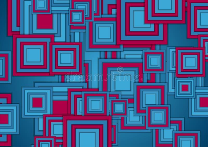 Fondo astratto della geometria di tecnologia dei quadrati blu e porpora illustrazione vettoriale