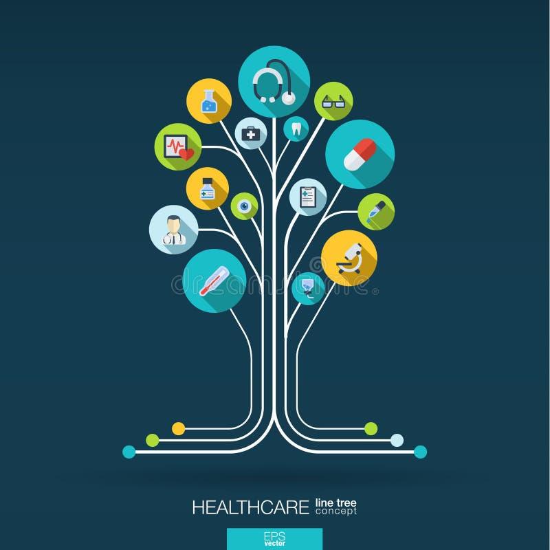 Fondo astratto della medicina Concetto dell'albero di crescita illustrazione di stock