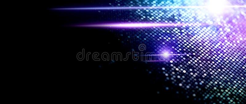 Fondo astratto della particella, contesto techno con i punti d'ardore, concetto di ciao-tecnologia, schermo blu di dati fotografia stock libera da diritti