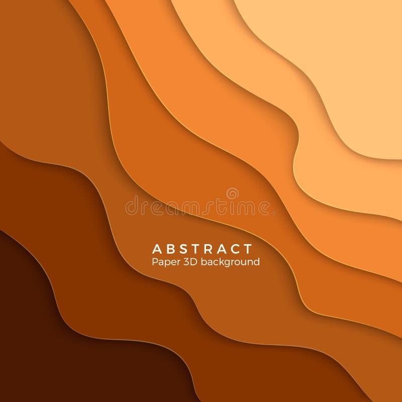 Fondo astratto della sabbia di colore Pendenza gialla tagliata carta Carta ondulata gialla di strato Illustrazione di vettore illustrazione di stock