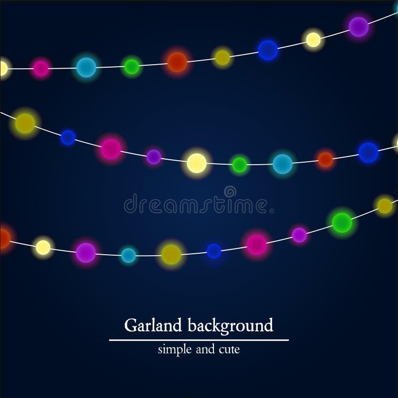 Fondo astratto delle luci intense Ornamento della ghirlanda di Natale illustrazione vettoriale