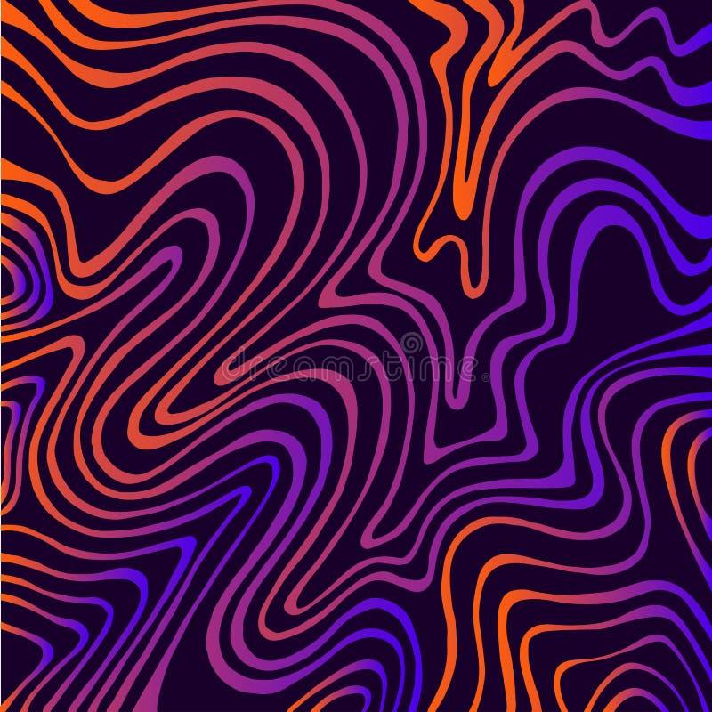 Fondo astratto delle onde di colore al neon luminoso d'annata Elemento decorativo di scarabocchio Modello isolato illustrazione di stock