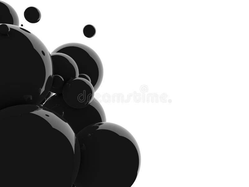 Fondo astratto delle palle del nero 3D Le palle nere, olio bolle, un tornado delle bolle nere su fondo bianco 3d illustrazione di stock