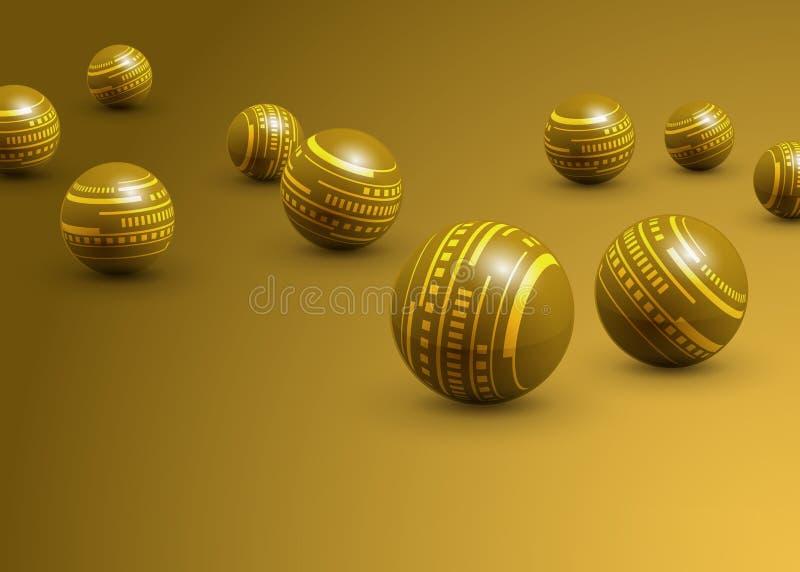 Fondo astratto delle palle gialle di tecnologia illustrazione di stock
