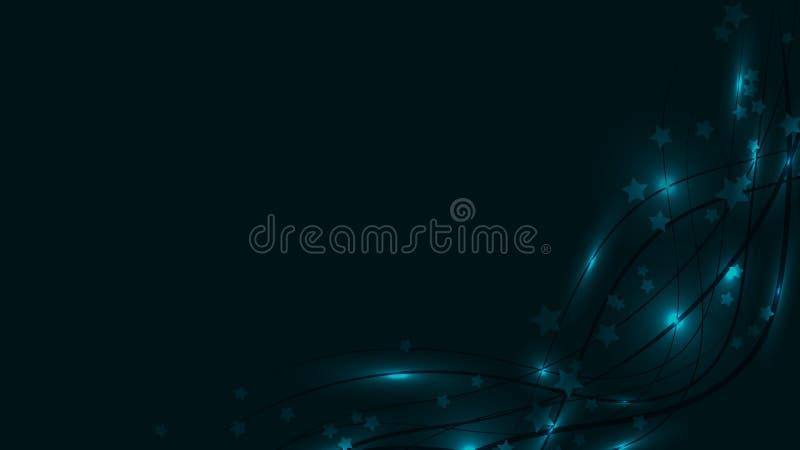 Fondo astratto dello spazio con le linee e chiarori ed asterischi ondulati luminosi blu della luce Stelle e strisce blu su un fon royalty illustrazione gratis