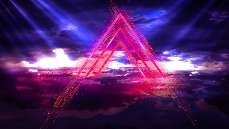 Fondo astratto dello spazio, lampade al neon, triangolo leggero, abbagliamento, raggi, fumo illustrazione vettoriale