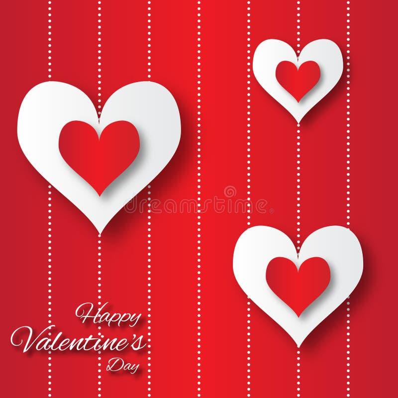 Fondo astratto di applique di San Valentino con i cuori del Libro rosso e Bianco del taglio illustrazione vettoriale