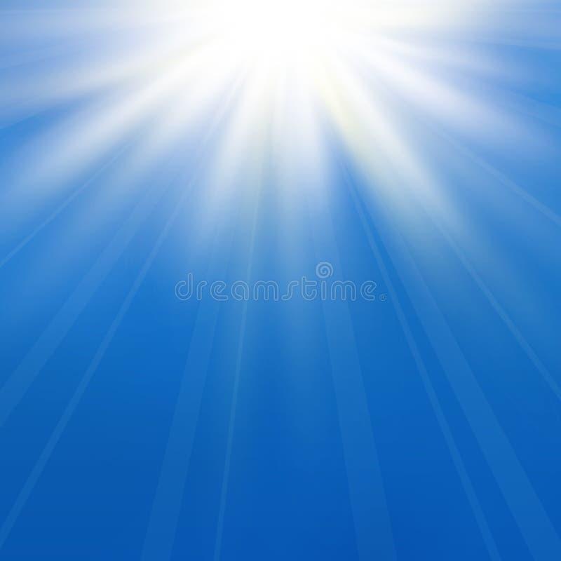Fondo astratto di asimmetrico in cielo blu scuro La luce di Sun ha scoppiato con il centro nella tomaia royalty illustrazione gratis