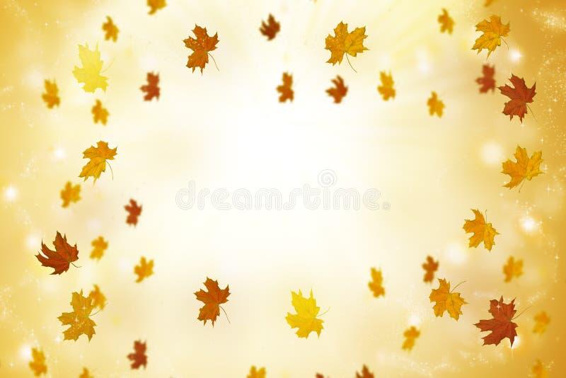 Fondo astratto di autunno con i raggi e le foglie volanti immagini stock libere da diritti