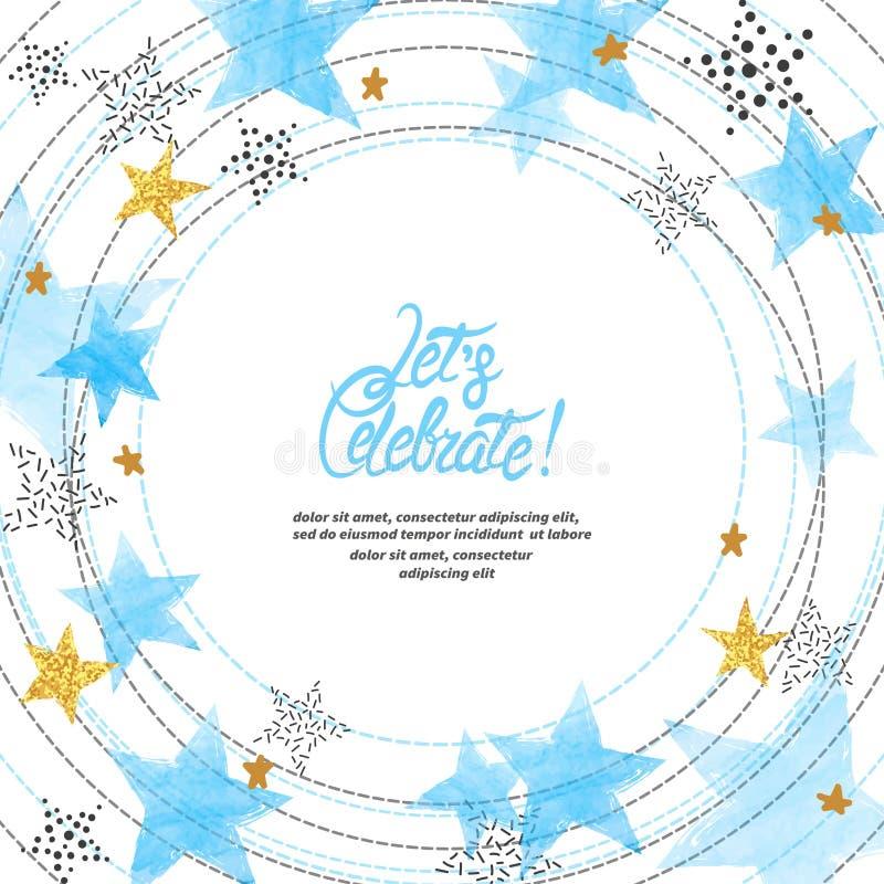 Fondo astratto di celebrazione di vettore del cerchio con le stelle blu dell'acquerello e posto per testo illustrazione vettoriale