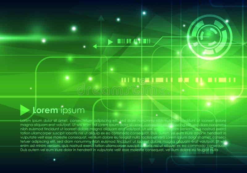 Fondo astratto di ciao-tecnologia di vettore nel colore verde illustrazione vettoriale