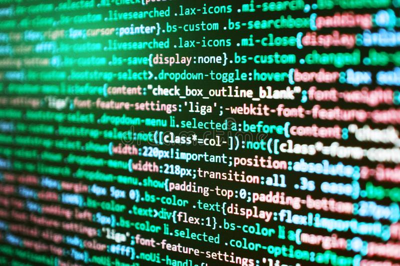 Fondo astratto di codice sorgente I project manager lavorano la nuova idea L'IT Business Company Struttura del sito Web del HTML fotografie stock libere da diritti