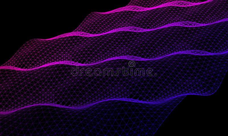 Fondo astratto di colore di tecnologia di griglia 3d Wireframe futuristico della rete di tecnologia Fondo di intelligenza artific illustrazione vettoriale