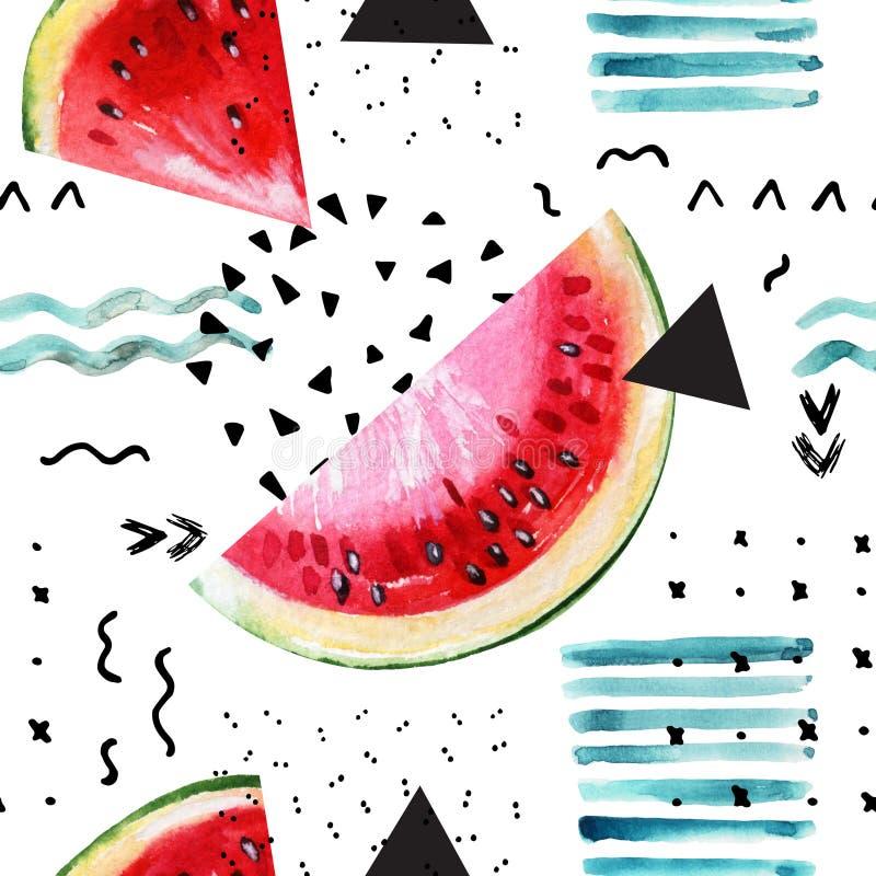 Fondo astratto di estate dell'acquerello: anguria, colpo della spazzola, scarabocchio, struttura di carta illustrazione di stock