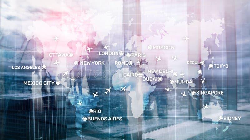Fondo astratto di Global Aviation con gli aerei ed i nomi della citt? su una mappa Concetto del trasporto di viaggio d'affari illustrazione vettoriale