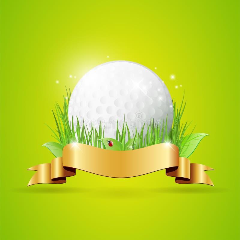 Fondo astratto di golf con la palla, l'erba ed il nastro dorato royalty illustrazione gratis