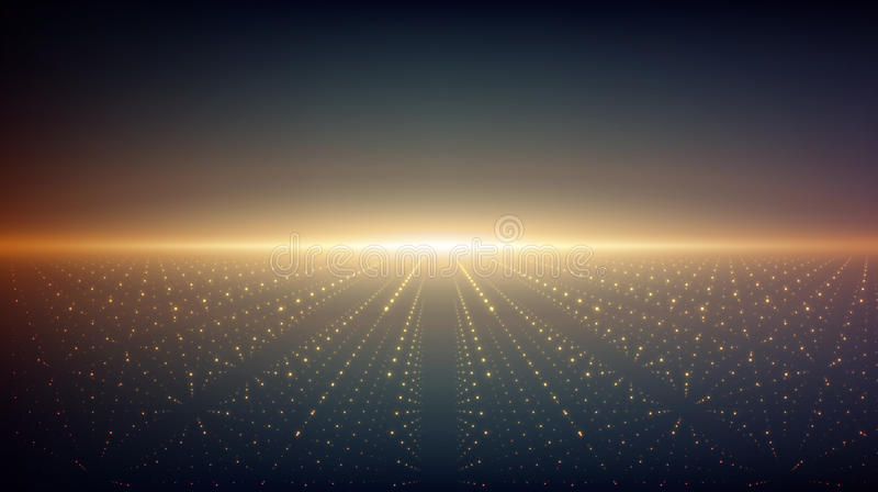 Fondo astratto di infinito di vettore L'ardore stars con l'illusione di profondità e della prospettiva illustrazione di stock