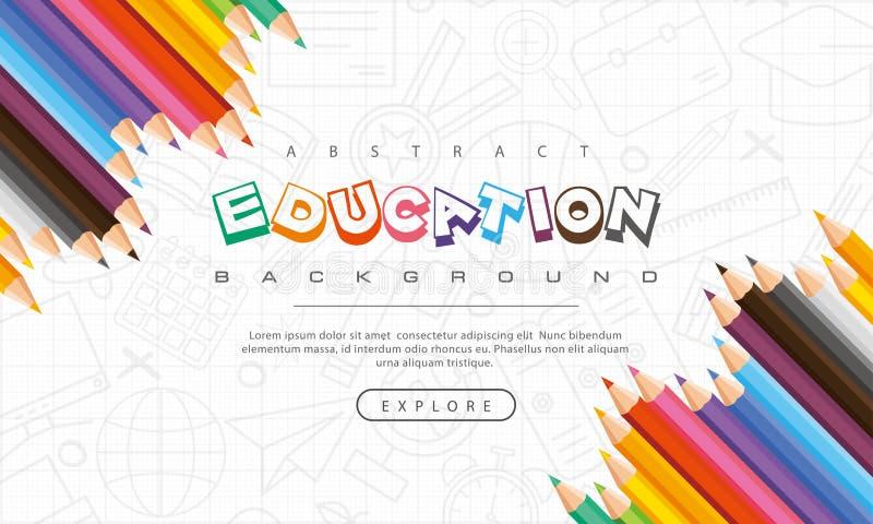 Fondo astratto di istruzione, di nuovo a scuola, imparante, studente, insegnamento, fondo dell'illustrazione di vettore con le ma immagini stock