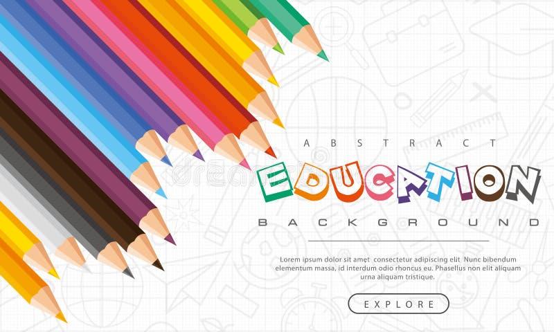 Fondo astratto di istruzione, di nuovo a scuola, imparante, studente, insegnamento, fondo dell'illustrazione di vettore con le ma immagine stock libera da diritti