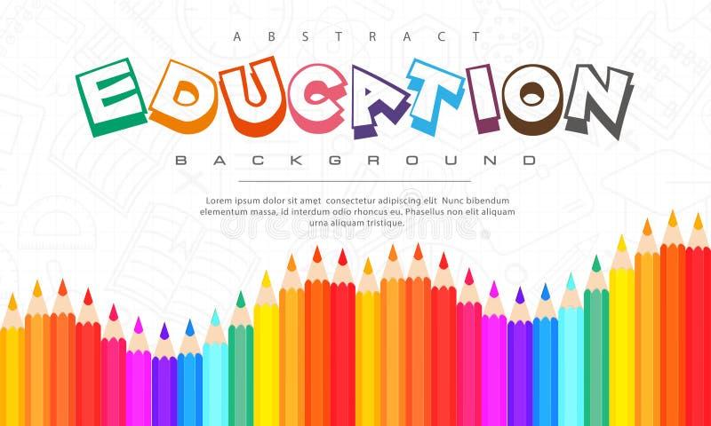 Fondo astratto di istruzione, di nuovo a scuola, imparante, studente, insegnamento, fondo dell'illustrazione di vettore con le ma fotografia stock libera da diritti