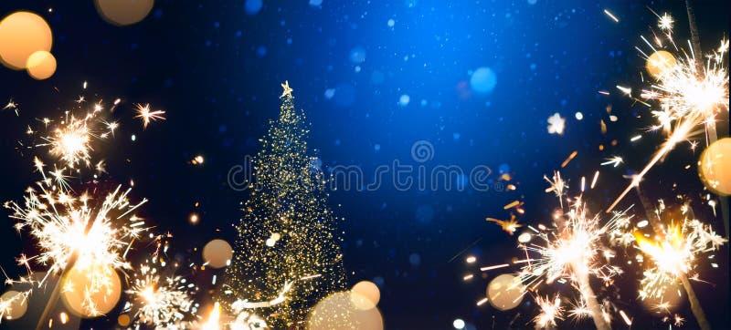 Fondo astratto di Natale con la luce e il holi dell'albero di Natale fotografie stock