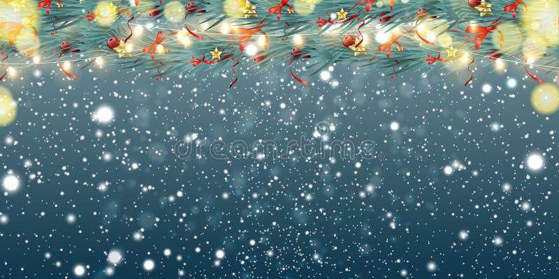 Fondo astratto di Natale con le ghirlande, i rami dell'abete, i fiocchi di neve ed il posto leggeri per testo Scintillare festivo illustrazione di stock