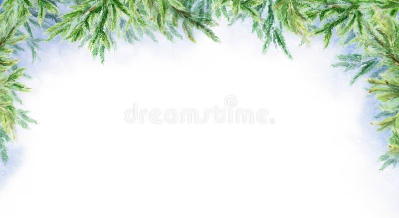 Fondo astratto di orizzontale di inverno dell'acquerello Filiali di abete Paesaggio di inverno fotografia stock libera da diritti