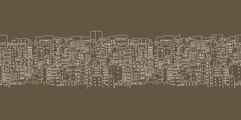 Fondo astratto di paesaggio urbano, modello senza cuciture per la vostra progettazione illustrazione vettoriale
