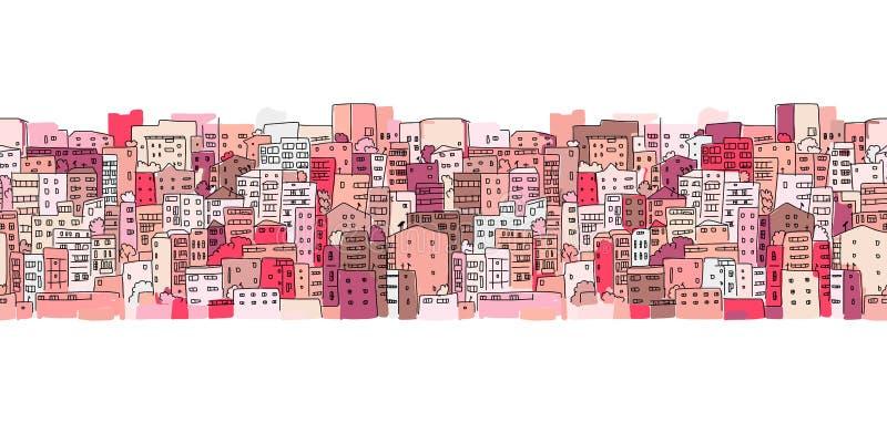 Fondo astratto di paesaggio urbano, modello senza cuciture per la vostra progettazione illustrazione di stock