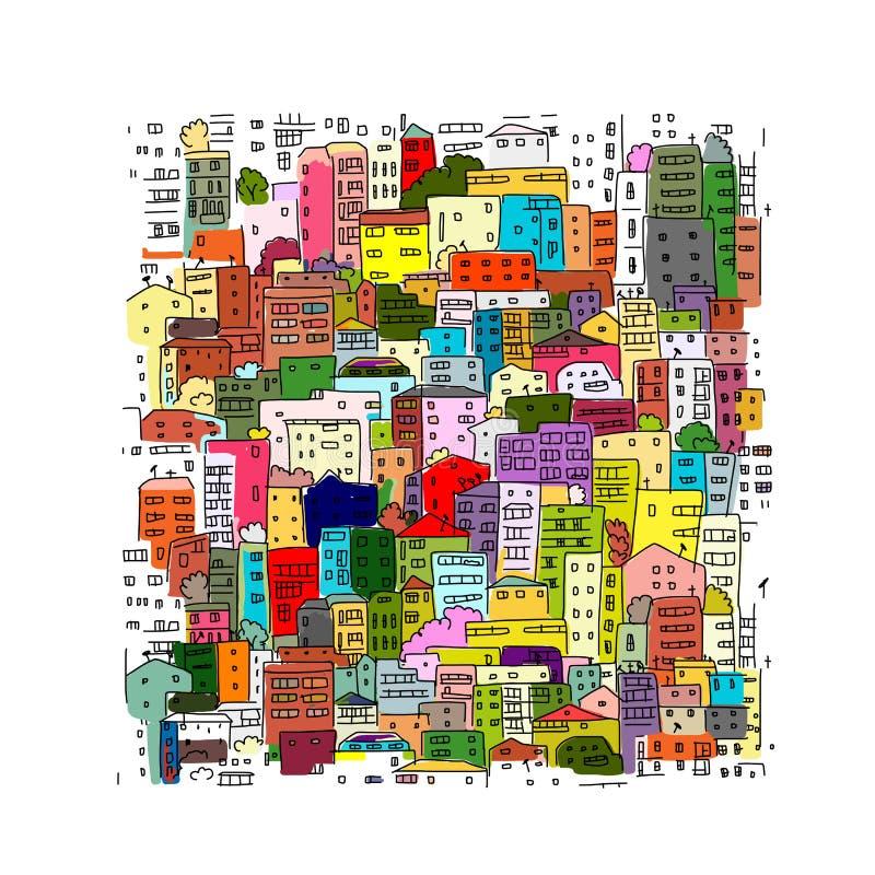 Fondo astratto di paesaggio urbano, schizzo per la vostra progettazione illustrazione vettoriale