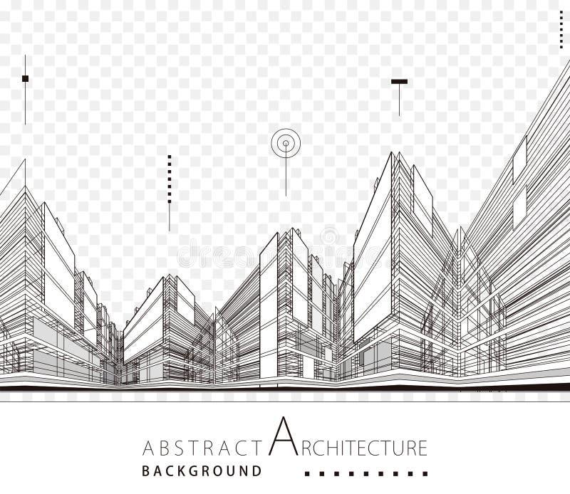 Fondo astratto di progettazione urbana della costruzione di architettura illustrazione di stock