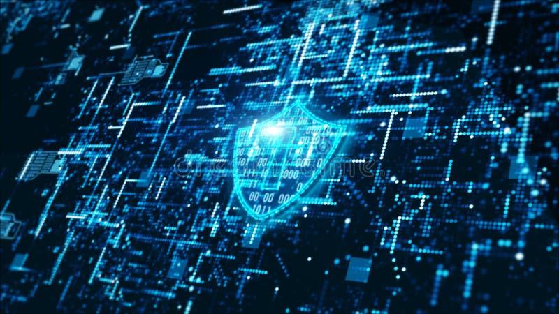 Fondo astratto di sicurezza di tecnologia digitale di Ciao-tecnologia di informazioni olografiche cyber dell'esposizione illustrazione di stock