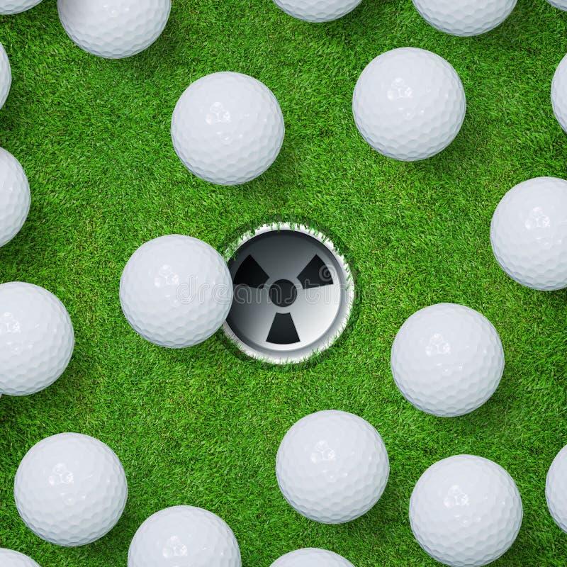 Fondo astratto di sport di golf di palla da golf e del foro di golf sul fondo dell'erba verde immagini stock libere da diritti