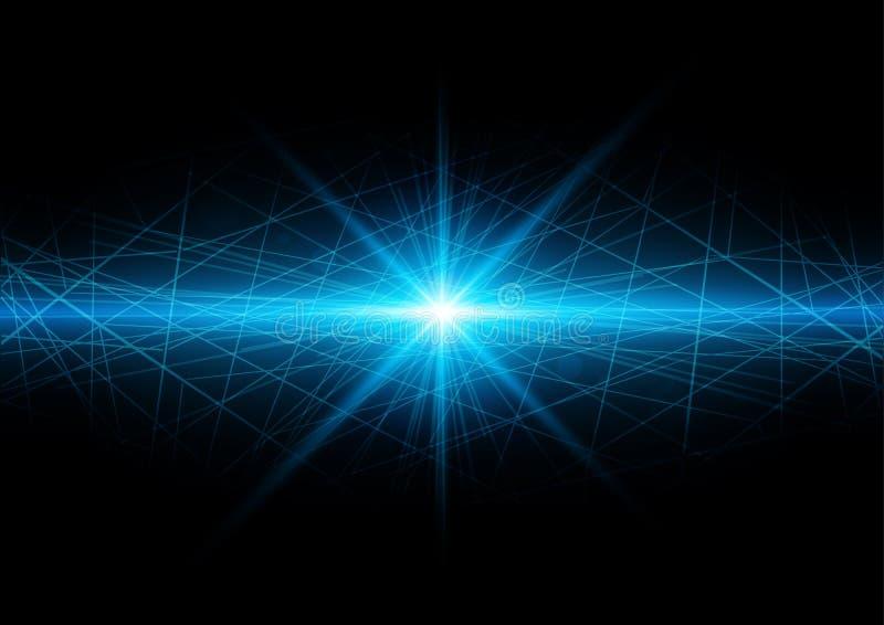 Fondo astratto di tecnologia con il chiarore luminoso con la maglia Vect illustrazione di stock