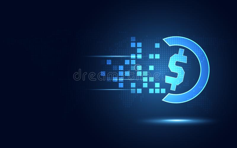 Fondo astratto di tecnologia del dollaro americano di trasformazione blu futuristica di valuta Tecnologia moderna e grande concet illustrazione vettoriale