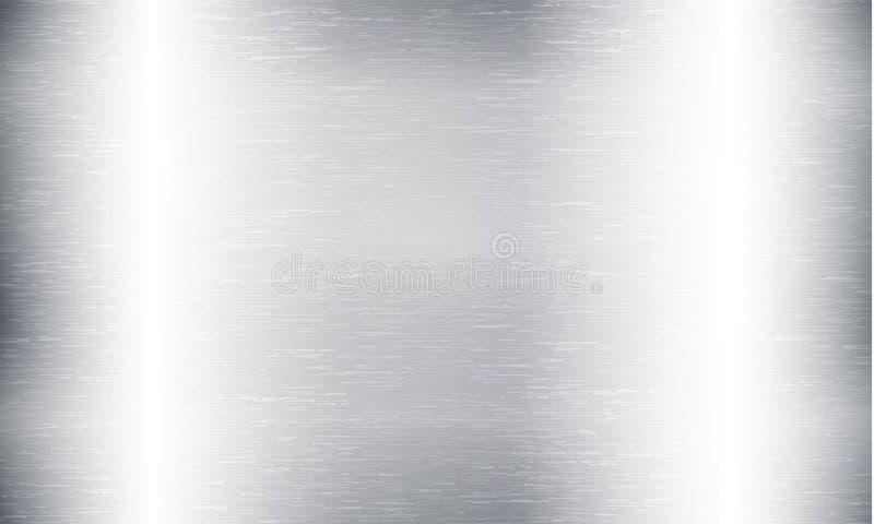 Fondo astratto di tecnologia del metallo Alluminio con struttura lucidata e spazzolata, cromo, argento, acciaio, per progettazion illustrazione di stock