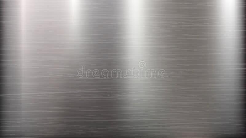 Fondo astratto di tecnologia del metallo Struttura lucidata e spazzolata Chrome, argento, acciaio, alluminio Illustrazione di vet illustrazione vettoriale